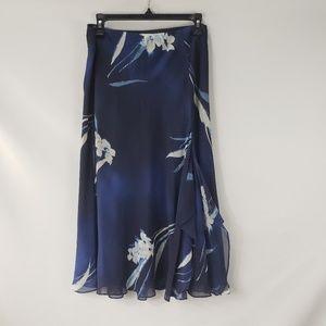 Lauren Ralph Lauren Navy Floral Chiffon Midi Skirt